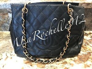 4cfa85d66c316b Image is loading AUTH-CHANEL-Black-Caviar-Quilted-Petit-Timeless-Tote-