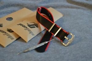 Gear-Guys-Military-Style-Watch-Strap-Seat-Belt-Material-Black-amp-Red-20mm-22mm
