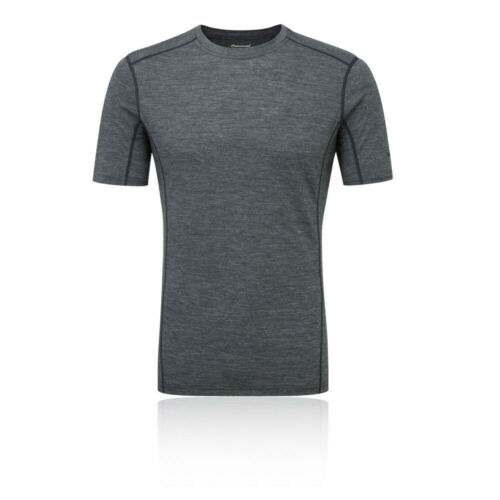 Montane Pour Hommes Primino 140 T Shirt Tee Top-Gris Sport Running Outdoors Chaud