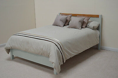 Camborne Painted Oak 6ft Superking Kingsize Double Bed Thick Bedstead In Mizzle