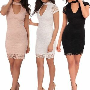 Ladies-Lace-Floral-Crochet-Choker-Plunge-Neck-Mini-Bodycon-Dress-Short-Sleeve