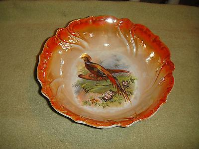 Vintage RCW Bavaria Pheasant Bowl-Orange Color-Scalloped Border-Orange Color