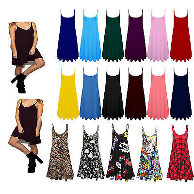 Womens Ladies Camisole Cami Flared Skater Strappy Vest Top Swing Mini Dress 8-26