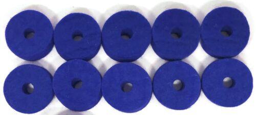"10 pack 1.5/"" x .5/"" Ahead Blue Wool Cymbal Felts"