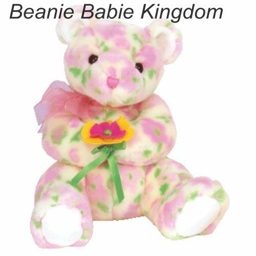 Ty  Beanie Buddy * BLOOM * The Coloured Buddie Bear Holding a Flower 9  09719