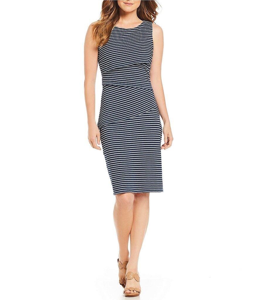 J. McLaughlin Indigo Dye Cotton Sleeveless Nicola Dress Navy Stripe M NWT