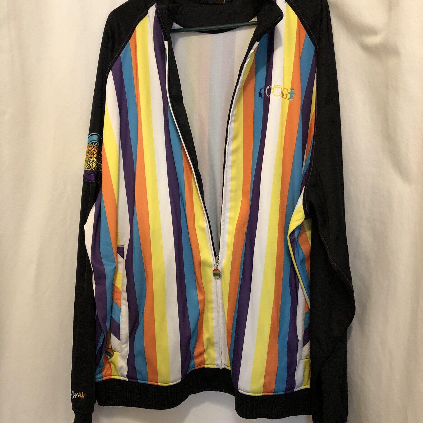 Coogi Track jacke Größe 4XL Striped Farbeful Zip Front Coat