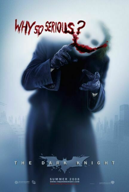 JOKER BATMAN WHY SO SERIOUS HEATH LEDGER DARK KNIGHT 24x36 poster COMIC MOVIE!!!