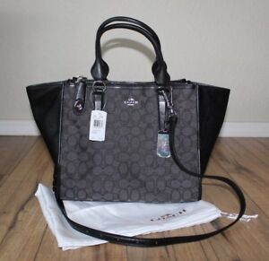 Details about NWT Coach Signature Crosby Carryall Purse Black Smoke w  dust  bag 89e28ac4b1a49