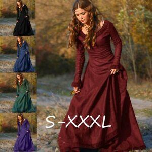 Medieval-Dress-Renaissance-Long-Sleeve-Round-Neck-Floor-Length-Fantasy-Dress