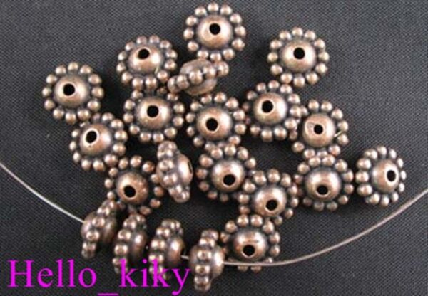 70 Antiqued copper plt Beaded bicone spacer beads A736