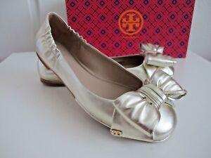 014297d0e6f02 NIB  250 Tory Burch Divine Bow Metallic Leather Driver Ballet Flat ...