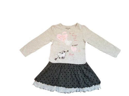 girls cotton grey dress with black frill stylish /& confortable ages 2 to 11 year