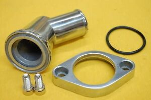 SBC-BBC-Chevy-Polished-Aluminum-45-Swivel-Water-Neck-Chevy-Thermostat-Housing