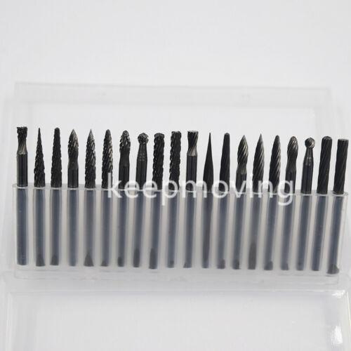 "20Pcs Tungsten Carbide Cutter Rotary Burr Set CNC Engraving Bit 3mm 1//8/"" 3.175"