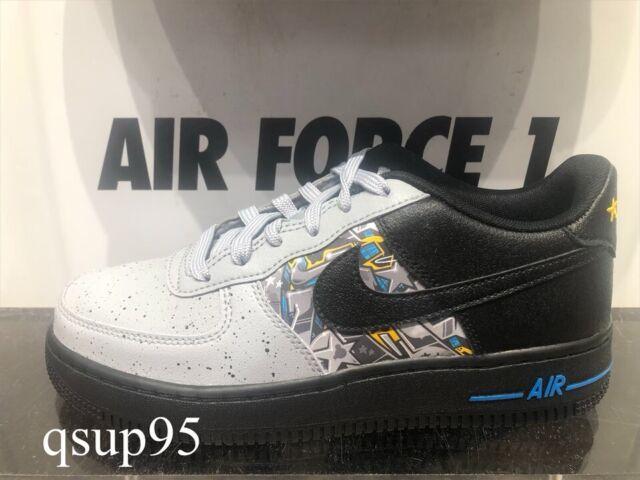 Nike Air Force 1 One Low Black Wolf Grey Blue Graffiti GS Womens Size 4Y 7Y NEW
