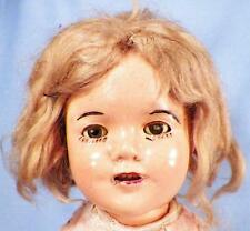 Shirley Temple Composition Doll Ideal 13 in Mohair Wig Pink Dress Vintage