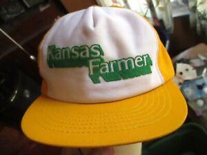 Vtg-80s-Hat-Cap-Snap-Back-KANSAS-FARMER-T-shirt-GRAPHIC-IRON-ON-Logo