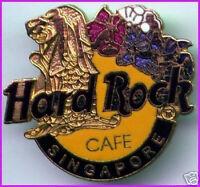 Hard Rock Cafe SINGAPORE 1990s Gold Merlion Flowers HRC Logo PIN