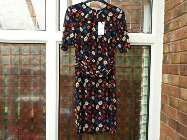 BNWT Whistles Summer Pansy Print Twisted Bodycon Silk Dress UK8 10 rrp£160 e13403f54