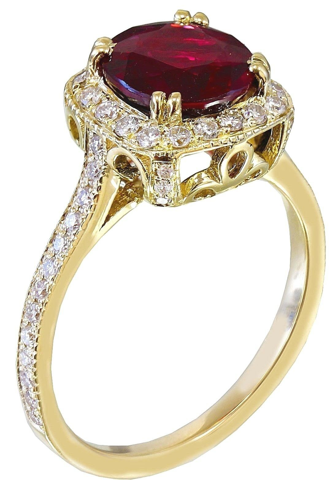 14k Yellow gold Round Cut Ruby And Diamond Bridal Halo Deco Ring Prong 2.65ctw