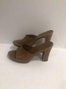 TOD-039-S-Women-039-s-Slides-Heels-Light-Brown-Leather-Open-Toe-Slip-on-Size-9-5