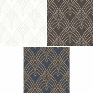 Rasch Astoria Art Deco Pattern Wallpaper Retro Arch Embossed ...