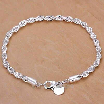 Fashion Women Silver Plated Twisted Bracelet Cuff Bangle Chain 1PCS