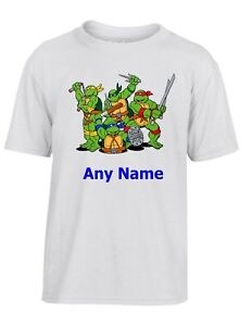 Personalised-Ninja-Turtles-style-Kids-Childs-White-T-Shirt-Choice-of-name-colour