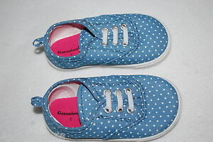 Baby-Toddler-Girls-BLUE-TENNIS-SHOES-Canvas-WHITE-POLKA-DOTS-Elast-Laces-3-4-5-6