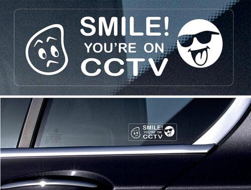 4 x Warning Sticker Sign CCTV Video Camera Recording Car Window Safety Smile