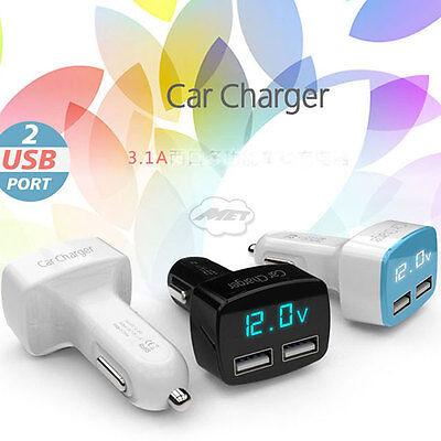 12V/24V LED Car Volt Meter Voltmeter Cigarette Lighter Charger W/ Dual USB White