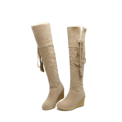 Women/'s Knee High Snow Boots Suede Fabric Round Toe 70mm Wedge Heel Winter Shoes