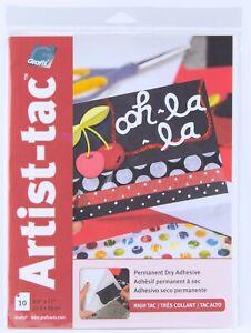 "Grafix Artist-tac High Tac Permanent Dry Adhesive Sheets 8.5"" x 11"" 10 Pack"
