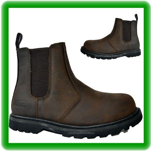 Mens new pull on  safety dealer chelsea  slip -on steel toe crazy brown  boots