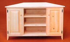 AMISH Pine Unfinished ~ Primitive CORNER TV ENTERTAINMENT Cabinet Storage