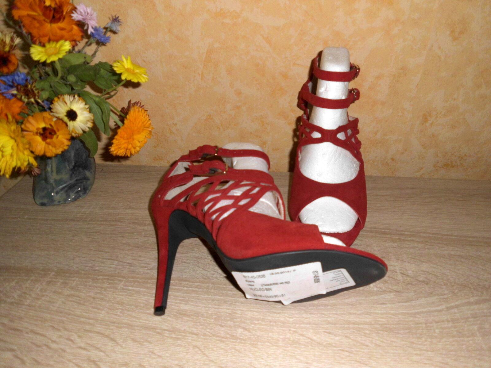 Studio W SEXY High Heel in Gladiator SANDALETTE NEU Gr. 40 in Heel rot  Velours Leder 78692e