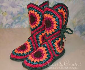 7f1d48947685 Image is loading Women-crochet-boots-handmade-house-shoes-knitted-wool-