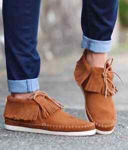 NIB MINNETONKA Venice BROWN Bootie 452T FRINGE Stiefel Leder Stiefel FRINGE Schuhes ... cd4a47