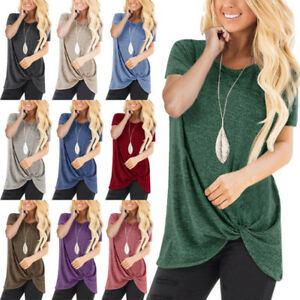 Womens-Tunic-Tops-Short-Sleeve-Summer-Loose-Tops-Blouse-Plus-Size-Shirt-T-Shirt