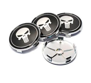 68mm-x4-Punisher-Radkappen-Nabenkappen-Nabendeckel-Felgendeckel-Stueck-Emblem-CAR
