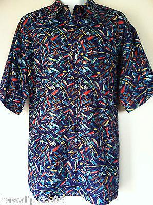 NEW Cooke Street Fishing Hawaii Fish Hooks Poles Hawaiian Shirt SZ XXL Gift Idea