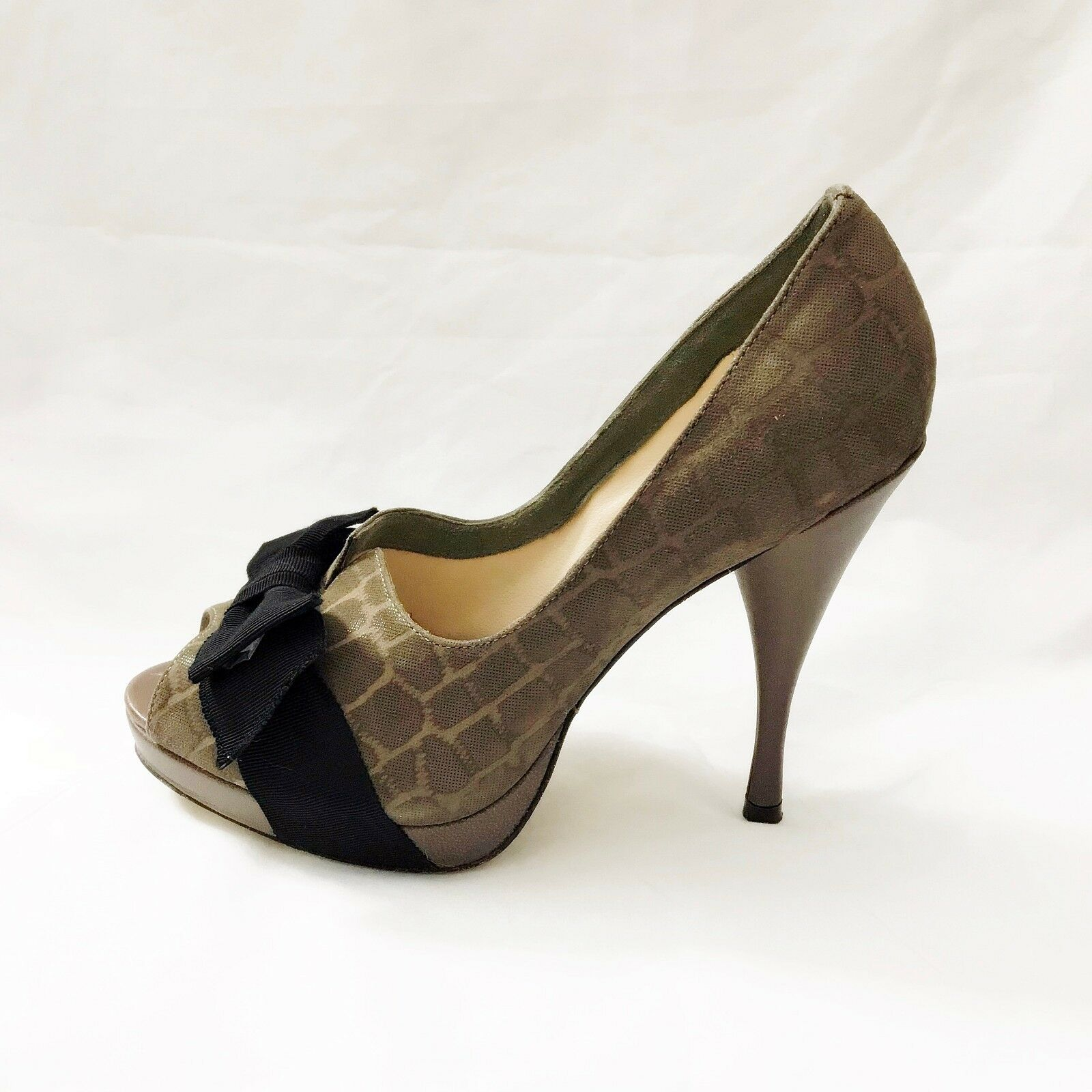 Adrienne Vittadini COLLECTION Escarpins Bout Ouvert Plateforme Apple taupe Croco En Relief 7.5