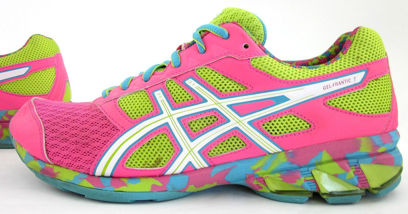 Asics Gel-Frantic 7 Womens Running shoes Hot Pink Neon Green White Sz 9.5