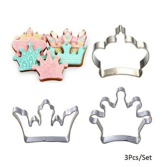 3 Princess Crown King Queen Party Cookie Cutter Cake Biscuit Baking Tool Mold NT