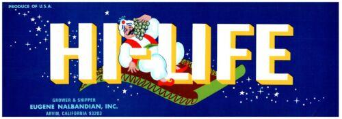 Vintage HI LIFE Brand Arvin California Fruit Crate Label Eugene Nalbandian Inc