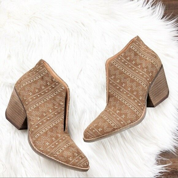 Matisse x Amuse Society Size 7 Cruz Embroidered Boots Tan Womens