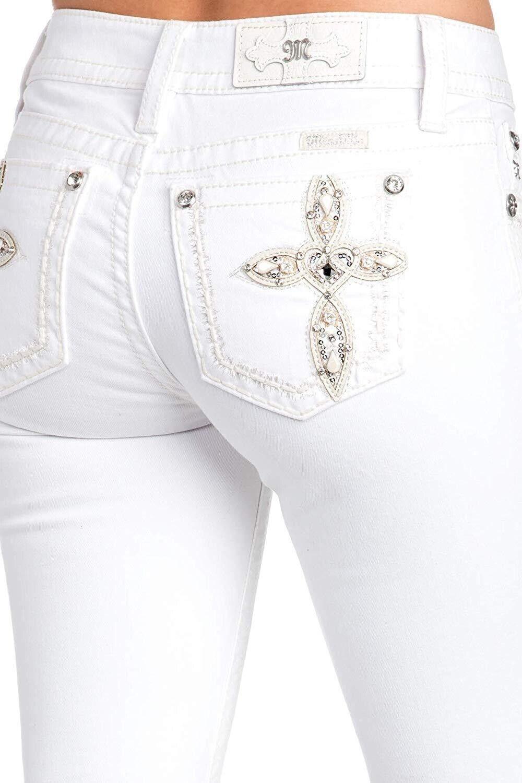 NEW MISS ME WOMEN'S WHITE HEART CROSS EMBROIDER SKINNY LEGGING PANTS JEANS