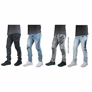 MENS-JEANS-biker-DENIM-ZIPPER-Designed-SLIM-Fit-Distressed-PANTS-ripped-jeans