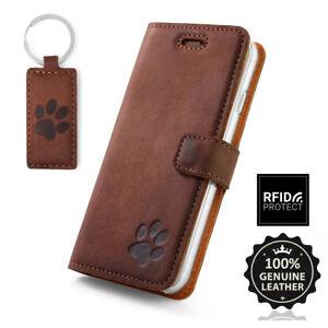 SURAZO-Echtes-Leder-Handy-RFID-Blocking-Wallet-Case-Etui-Schutzhulle-mit-Pfote